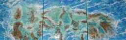 No 1 Great Barrier Reef Tryptic - Resin art