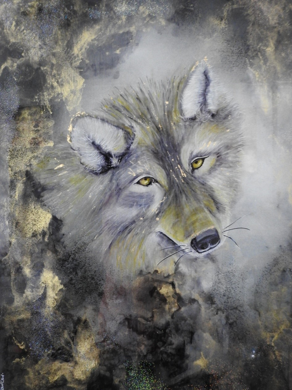 Strong Instincts - Wolf - Resin art