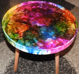 48cm White round ink and resin drip method table